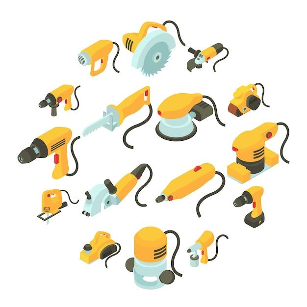 Набор иконок электрических инструментов, изометрической мультяшном стиле Premium векторы
