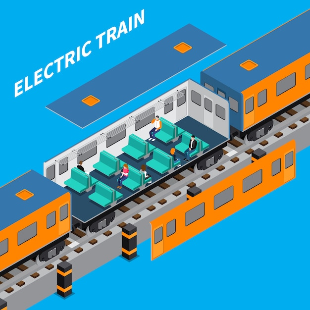 Electric train isometric composition Free Vector
