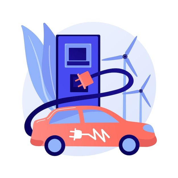 Electric vehicle use abstract concept Free Vector