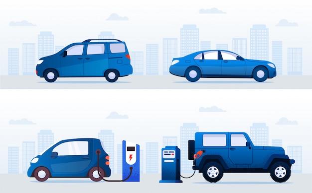 Electric vs gasoline cars at station on street set Premium Vector