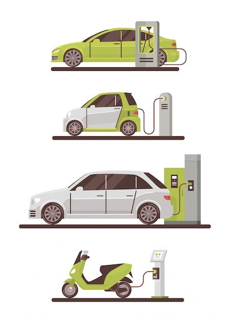 Electrical cars and scooters at charging station eco friendly vehicle set Premium Vector