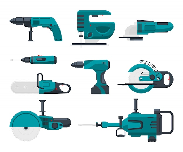 Electrical construction tools Premium Vector