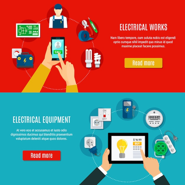 Electrical equipment and electrician horizontal banners Free Vector