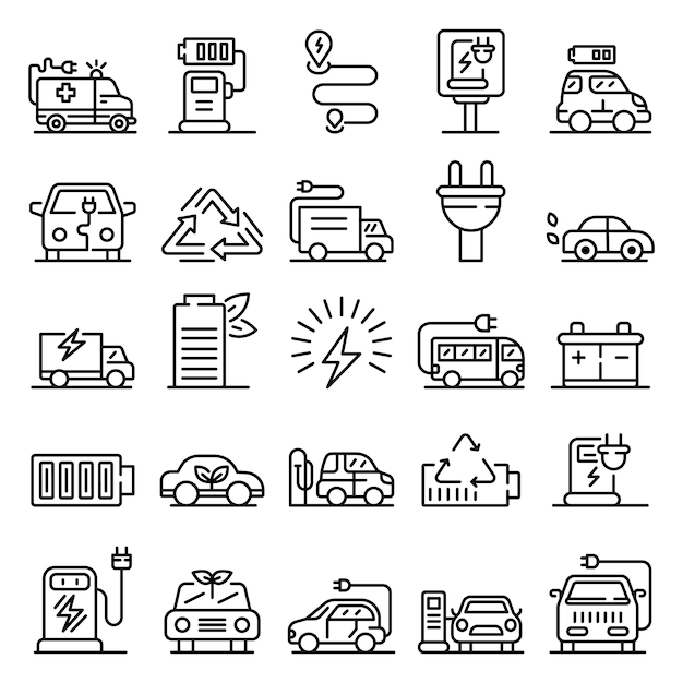 Electrical refueling icons set, outline style Premium Vector