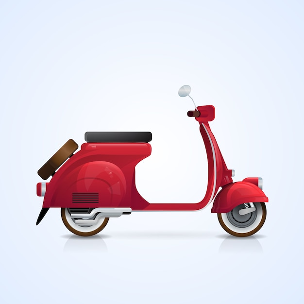 Electrical scooter retro electric transport Premium Vector