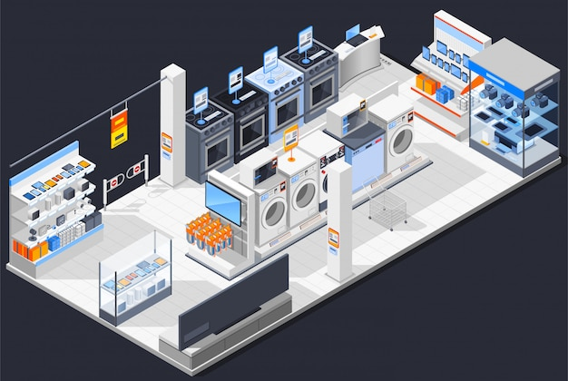 Electrical shop isometric composition Free Vector