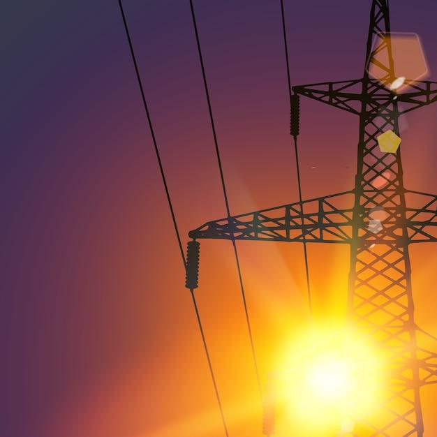 Linea di trasmissione elettrica sul tramonto. Vettore gratuito