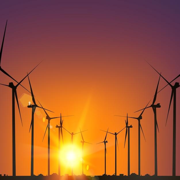 日没の電気風車発電機。 無料ベクター