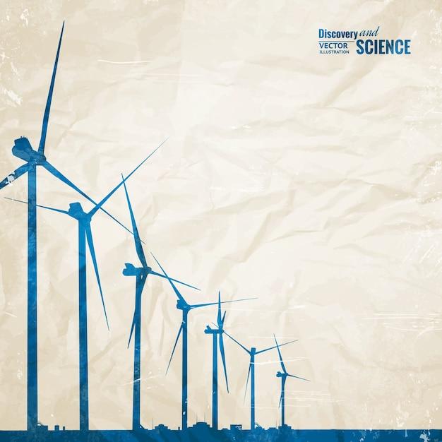 Generatori di mulini a vento elettrici Vettore gratuito