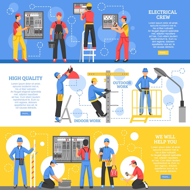Electrical works horizontal banners Free Vector