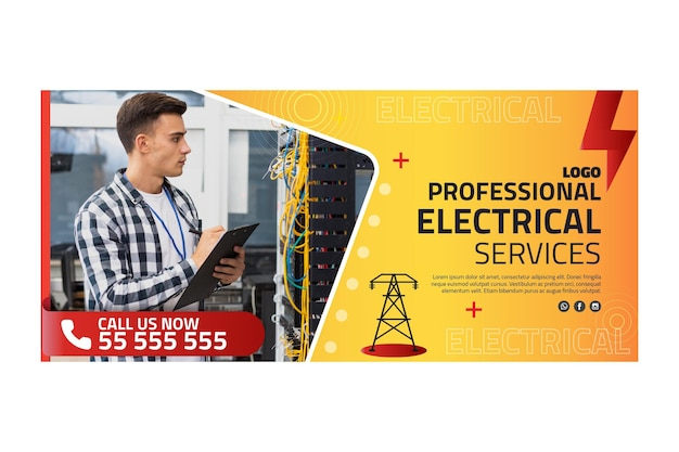 Electrician ad banner template Free Vector