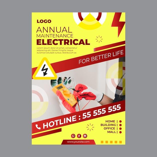 Modello di volantino pubblicitario per elettricista Vettore gratuito