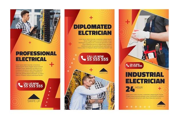 電気技師の広告インスタグラムストーリーテンプレート 無料ベクター