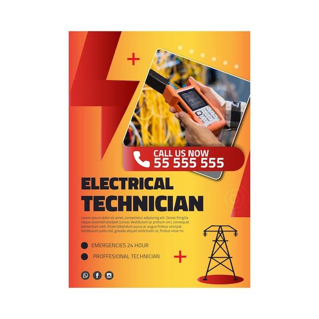 電気技師の広告ポスターテンプレート 無料ベクター