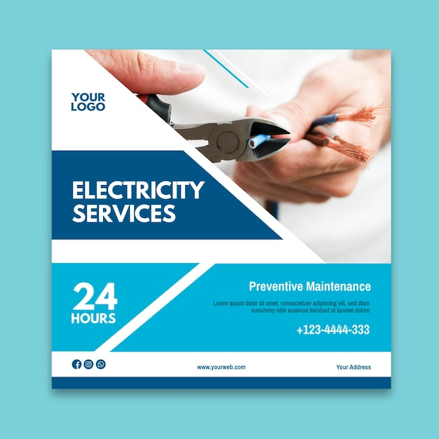 Electrician ad square flyer template Free Vector