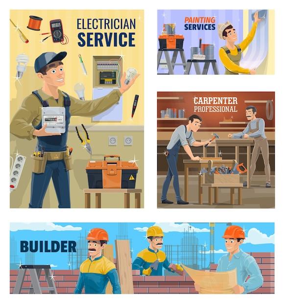 Электрик и малярка, строитель и плотник баннер Premium векторы