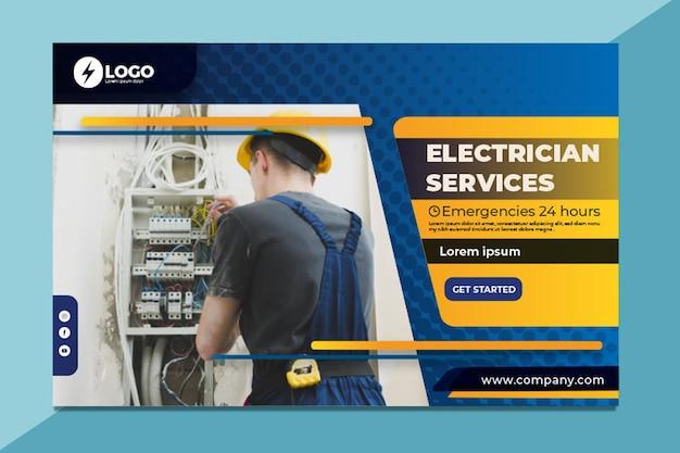 Banner di elettricista Vettore gratuito