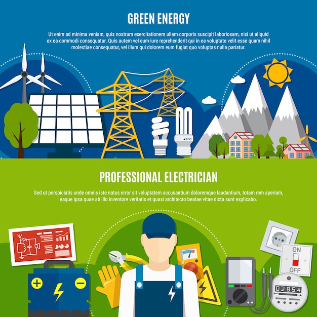 Electrician and clean energy flat banners Free Vector