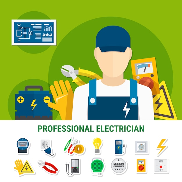Electrician flat icons set Free Vector