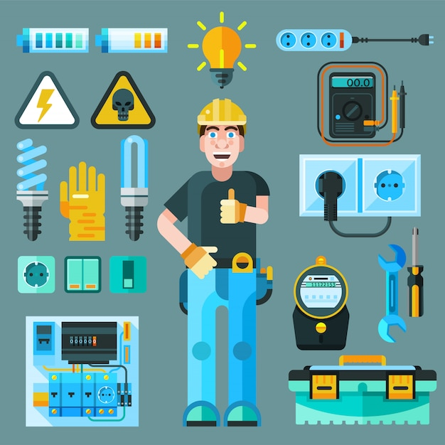 Electrician icons set Free Vector