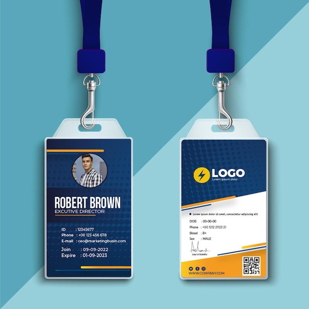 Electrician id card Free Vector