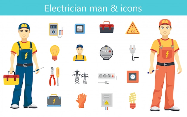 Electrician man concept and color flat icons set isolated. Premium Vector