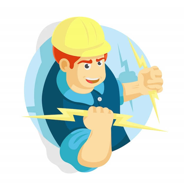 Electrician man holding on a lighting vector illustration Premium Vector