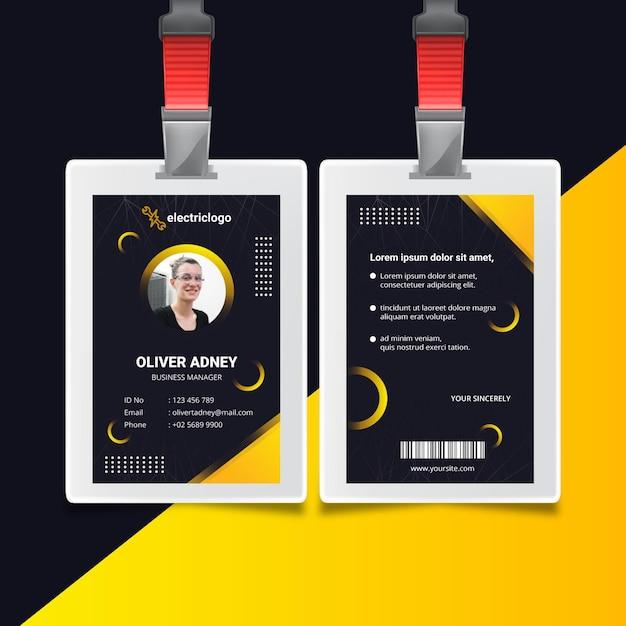 電気技師の男性idカードテンプレート 無料ベクター