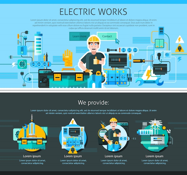 Electrician one page design Free Vector
