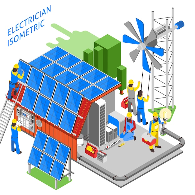 Electrician people isometric composition Free Vector
