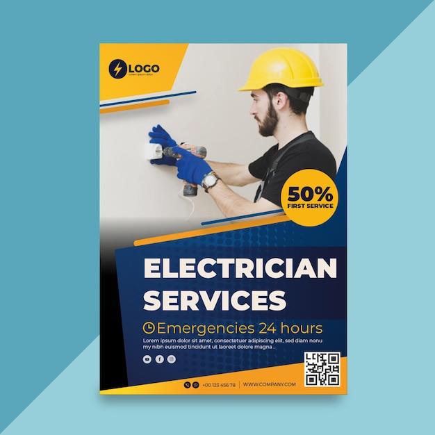 Poster elettricista Vettore gratuito