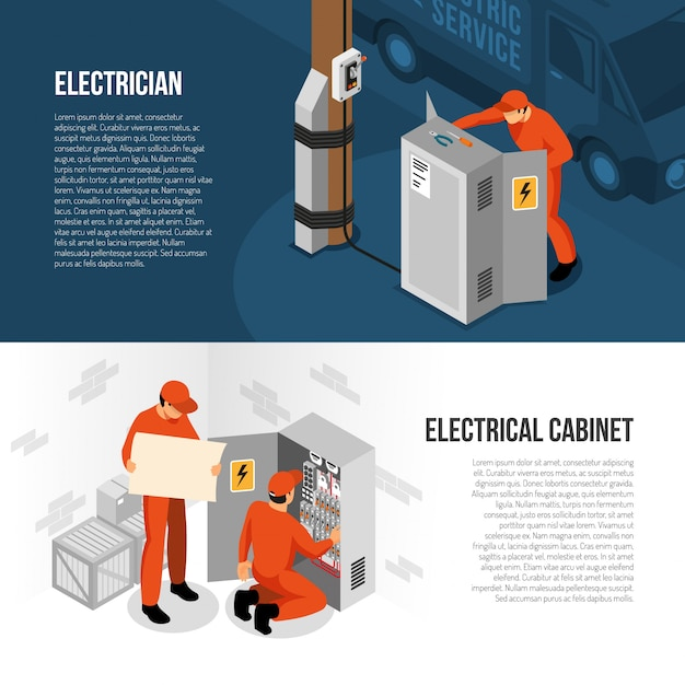 Electrician service isometric horizontal banners with information on switch cabinet panel control and replacing vector illustration Free Vector
