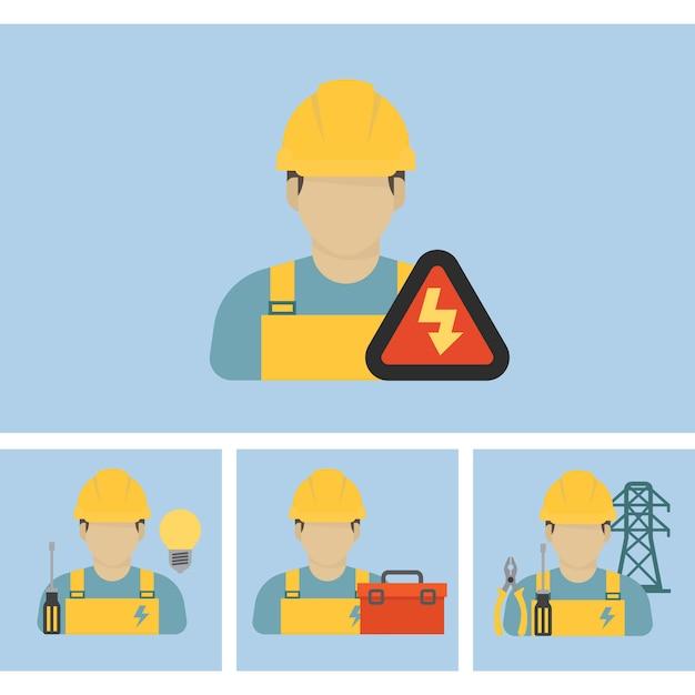 電気労働者のアイコン Premiumベクター