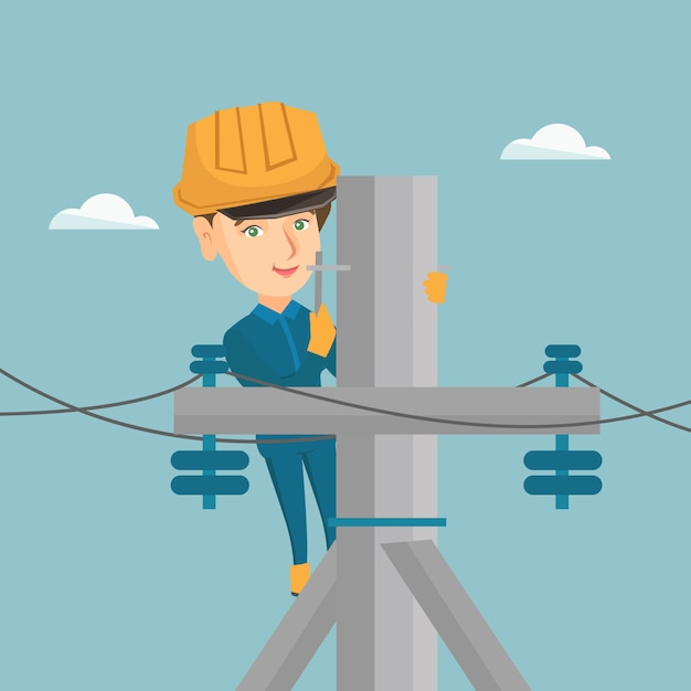 Electrician working on electric power pole. Premium Vector