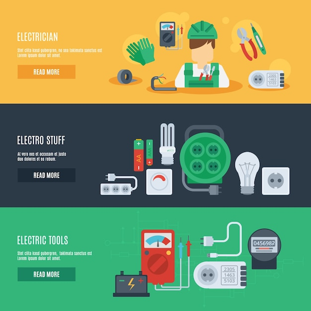 Electricity banner set Free Vector