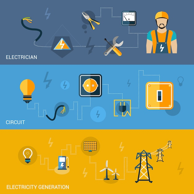 Electricity banners set Free Vector