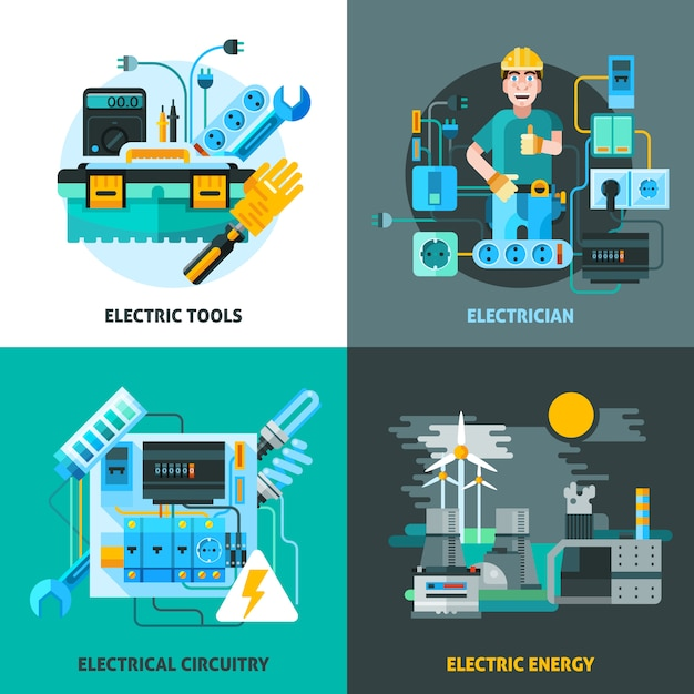 Electricity concept icons set Free Vector