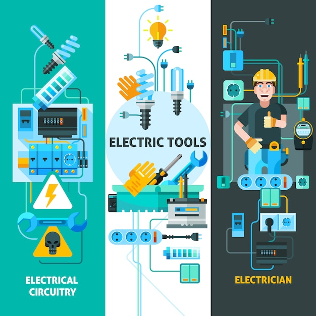 Electricity elements set Free Vector