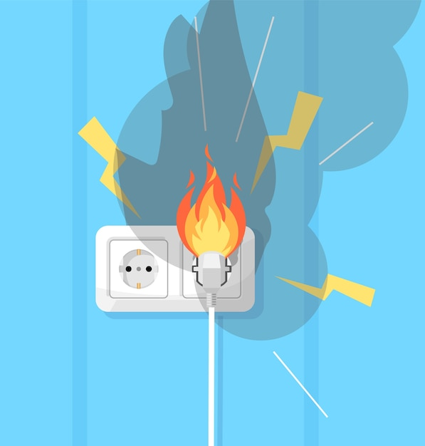 Electricity and fire defence semi  rgb color  illustration. electrical short circuit. electrical equipment. faulty wiring  cartoon object on turquoise background Premium Vector