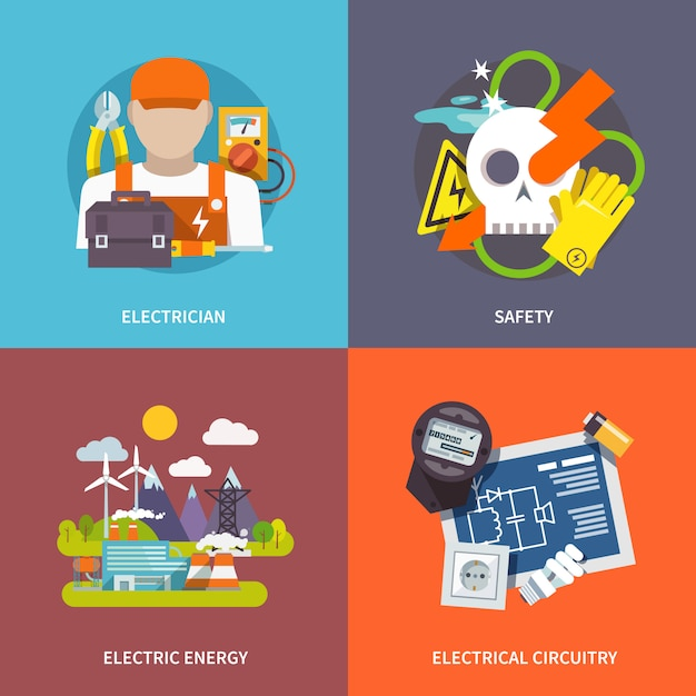 Electricity flat set Free Vector