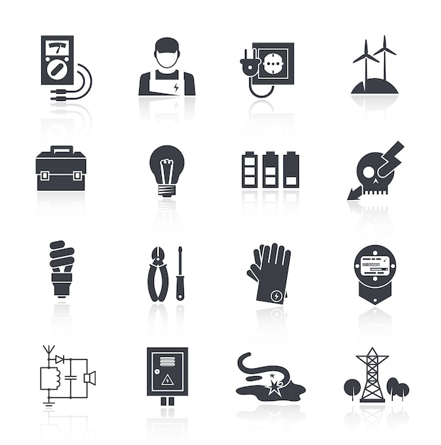 Electricity icon black Free Vector