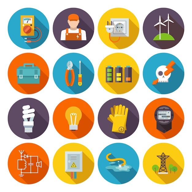 Electricity icon flat Free Vector