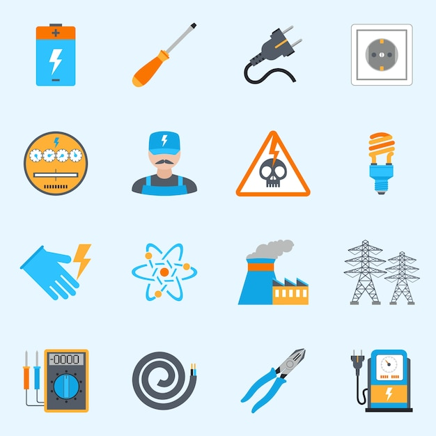 Electricity icons set Free Vector