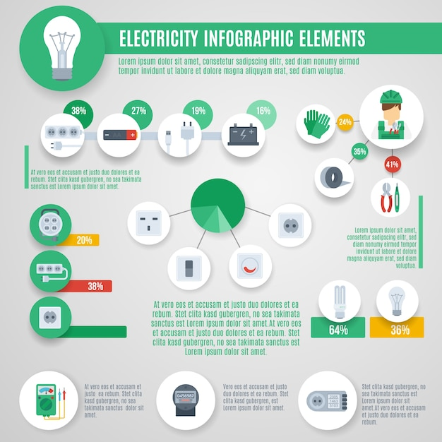 Electricity infographics set Free Vector