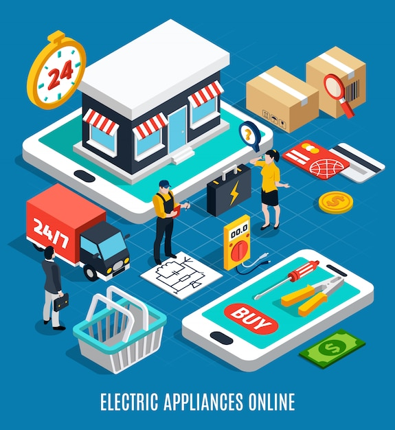 Electricity isometric colored 3d composition Free Vector