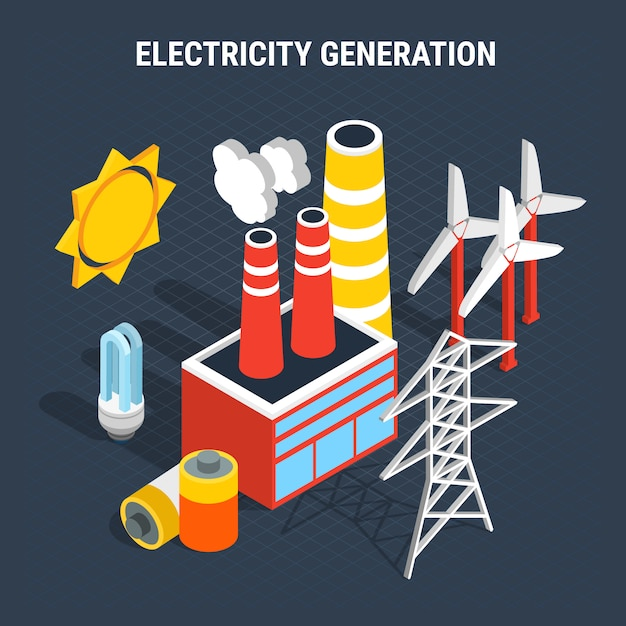 Electricity isometric colored composition Free Vector