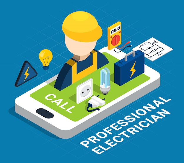 Electricity isometric colored concept Free Vector