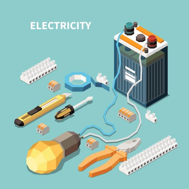 Изометрическая композиция электричества с изображениями электрооборудования и инструментов с аккумуляторной батареей, подключенной к лампе Бесплатные векторы