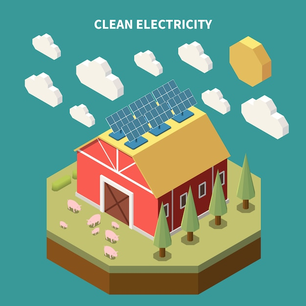 Electricity isometric composition with view of farm barn building with solar battery panels installed on roof Free Vector