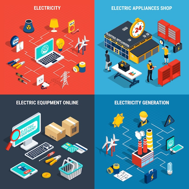 Electricity isometric concept Free Vector